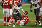 Tampa Bay Buccaneers outside linebacker Shaquil Barrett celebrates after sacking Kansas City Chiefs quarterback Patrick Mahomes during the second half of the NFL Super Bowl 55 football game Sunday, Feb. 7, 2021, in Tampa, Fla. (AP Photo/David J. Phillip)