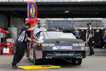 Driver Matt Mills' car is fueled before the NASCAR Xfinity series auto race Tuesday, May 19, 2020, in Darlington, S.C. (AP Photo/Brynn Anderson)