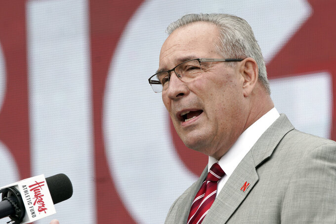 FILE - In this Sept. 27, 2019, file photo, Nebraska Athletic Director Bill Moos speaks during an NCAA college football news conference in Lincoln, Neb. Moos abruptly announced his retirement Friday, June 25, 2021, saying he will step down next week.The announcement came as a surprise because the 70-year-old Moos has said publicly he wanted to stay in the job until he was comfortable the Cornhuskers football program had been turned around. (AP Photo/Nati Harnik, File)