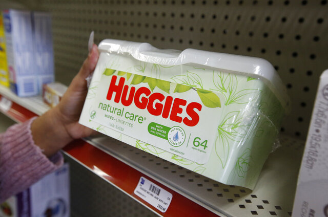 Alice White displays a package of Huggies disposable wipes at Pucci's Leader Pharmacy in Sacramento, Calif., Thursday, Jan. 23, 2020. A bill by Assemblyman Richard Bloom, D-Santa Monica, that would require products that cannot be flushed down the toilet to be clearly labeled as such was approved by the Assembly Appropriations Committee, Thursday, Jan. 23, 2020. It now goes for a vote in the Assembly. (AP Photo/Rich Pedroncelli)