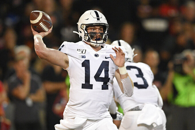 Penn State quarterback Sean Clifford passes during the first half of an NCAA college football game against Maryland, Friday, Sept. 27, 2019, in College Park, Md. (AP Photo/Nick Wass)