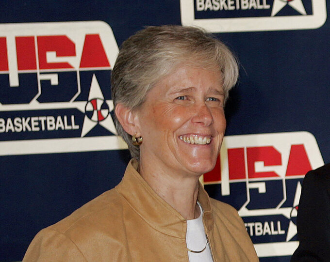 FILE - In this April 15, 2009, file photo, USA Basketball women's national team director Carol Callan attends a news conference in Storrs, Conn. Callan will step down after the Tokyo Olympics to focus on her role as the president of FIBA Americas. She has been with the national team since 1995 and has worked behind the scenes to help the U.S. win six consecutive Olympic gold medals. (AP Photo/Bob Child, File)
