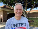 Steve Marsh, a 75-year-old retired realtor from Westminster, Calif. poses for a photo on Tuesday, Sept. 14, 2021. Marsh said he voted for the recall for many reasons, including Newsom's handling of the pandemic and the closure of many businesses. He said he is a Republican and generally doesn't vote for Democrats, who he feels are too supportive of tax increases. He chose Larry Elder to replace Newsom as he feels that Elder shares his politically conservative views. (AP Photo/Amy Taxin)