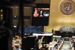 China's President Xi Jinping remotely addresses the 76th session of the United Nations General Assembly in a pre-recorded message, Tuesday Sept. 21, 2021, at UN headquarters. (Spencer Platt/Pool Photo via AP)