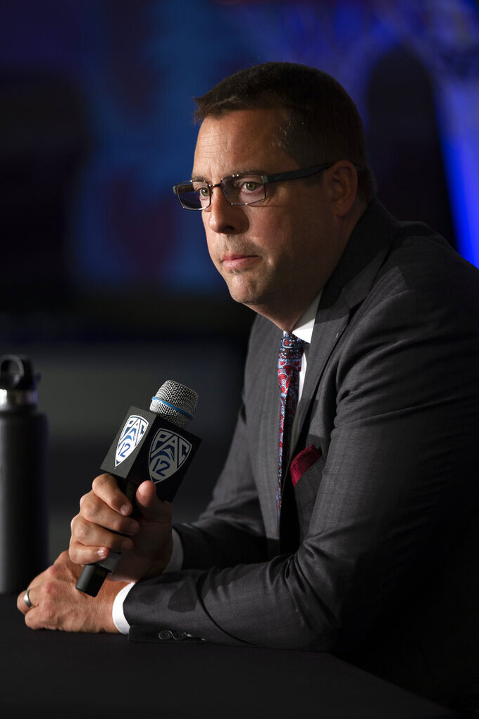 Stanford coach Jerod Haase speaks during the Pac-12 NCAA college basketball media day in San Francisco, Tuesday, Oct. 8, 2019. (AP Photo/D. Ross Cameron)