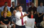Democratic presidential candidate Julian Castro speaks during a FOX News Channel town hall event, Thursday, June 13, 2019, in Tempe, Ariz. (AP Photo/Ross D. Franklin)