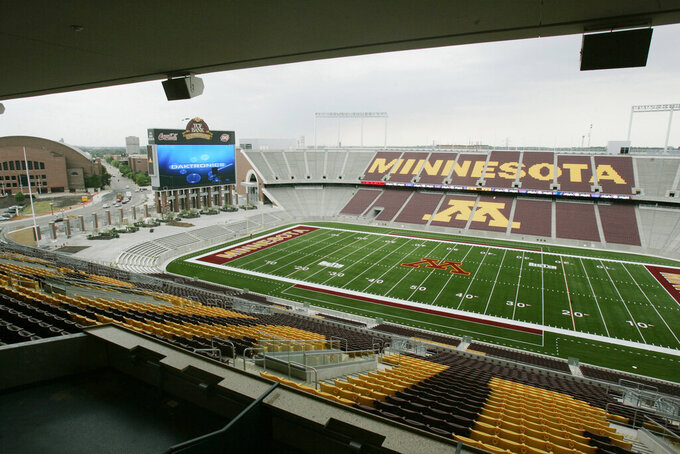 FILE - TCF Bank Stadium is shown during a media tour in Minneapolis, in this Tuesday, June 16, 2009, file photo. The home for Minnesota's football games has a new name: Huntington Bank Stadium. The university's board of regents approved the change at a meeting on Tuesday, June 29, 2021, by a 9-2 vote. (AP Photo/Jim Mone, File)