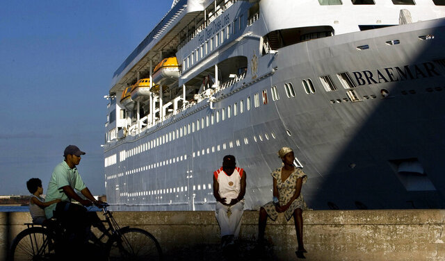 FILE - In this April 14, 2008 file photo, the Fred Olson Cruise Liner Braemar is docked at the port in Havana, Cuba. On Thursday, Feb. 27, 2020 the Dominican Republic turned back the Braemar because some on board showed potential symptoms of the new coronavirus COVID-19. (AP Photo/Ramon Espinosa, File)