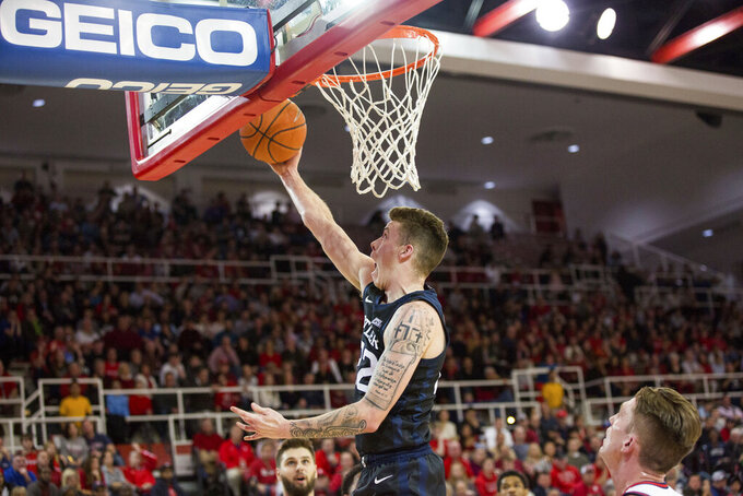 Butler forward Sean McDermott (22) goes for the lay up during the first half of an NCAA college basketball game against St. John's, Tuesday, Dec. 31, 2019, in New York. (AP Photo/Julius Constantine Motal)