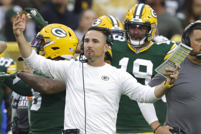 Green Bay Packers head coach Matt LaFleur reacts to a call during the second half of an NFL football game against the Pittsburgh Steelers Sunday, Oct. 3, 2021, in Green Bay, Wis. (AP Photo/Matt Ludtke)