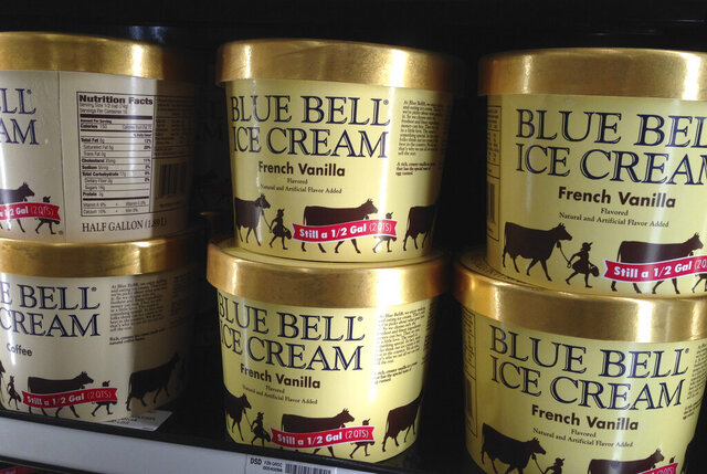 FILE - In this April 10, 2015, file photo, Blue Bell ice cream rests on a grocery store shelf in Lawrence, Kan. Blue Bell Creameries agreed to pay more than $19 million in fines and forfeiture, Friday, May 1, 2020, as part of a plea agreement on two misdemeanor counts for shipping contaminated ice cream, according to the U.S. Department of Justice. (AP Photo/Orlin Wagner, File)