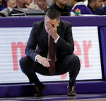 Ohio State coach Chris Holtmann reacts during the second half of the team's NCAA college basketball game against Northwestern, Wednesday, March 6, 2019, in Evanston, Ill.  (AP Photo/Nam Y. Huh)