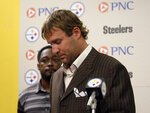 FILE - In this Thursday, July 23, 2009, file photo, Pittsburgh Steelers quarterback Ben Roethlisberger makes a statement to reporters at Steelers headquarters in Pittsburgh, saying that allegations by a Lake Tahoe casino hostess that he raped her a year earlier are