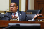 FILE - In this July 18, 2018, file photo, Rep. Keith Ellison, D-Minn., asks a question at a House Committee on Financial Services hearing in Washington. Ellison decided to leave Congress for a chance to make a difference as his state's attorney general, but an ex-girlfriend's late accusation of domestic abuse clouded what had been his race to lose. (AP Photo/Jacquelyn Martin, File)