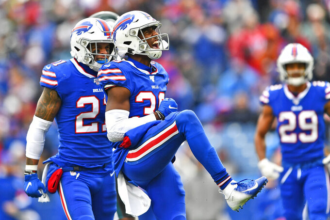 Buffalo Bills' Levi Wallace reacts after a play during the first half of an NFL football game against the Philadelphia Eagles, Sunday, Oct. 27, 2019, in Orchard Park, N.Y. (AP Photo/Adrian Kraus)