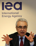Executive Director of the International Energy Agency Fatih Birol speaks Wednesday, Nov. 13, 2019 in Paris. The world's thirst for oil will continue to grow until the 2030s and climate-damaging emissions will keep climbing until at least 2040 — unless governments rethink how we fuel our lives, according to an important global energy industry forecast. (AP Photo/Michel Euler)