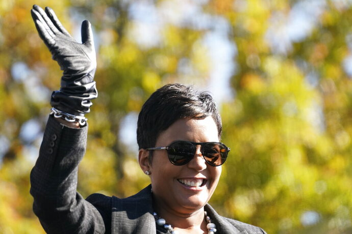 Atlanta Mayor Keisha Lance Bottoms speaks to Biden supporters as they wait for former President Barack Obama to arrive and speak at a rally as he campaigns for Democratic presidential candidate former Vice President Joe Biden, Monday, Nov. 2, 2020, at Turner Field in Atlanta. (AP Photo/Brynn Anderson)