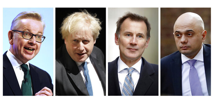 COMBO FILE - In this file four-photo combo image of various recent dates, showing the contenders still placed to become leader of the Conservative Party, Wednesday June 19, 2019, with from left: Michael Gove, Boris Johnson, Jeremy Hunt, Sajid Javid. Rory Stewart has dropped out of the contest Wednesday. Britain's Conservative Party will continue to hold elimination votes until the final two contenders will be put to a vote of party members nationwide, with the winner due to replace Prime Minister Theresa May as party leader and prime minister. (AP FILE Photo combo)