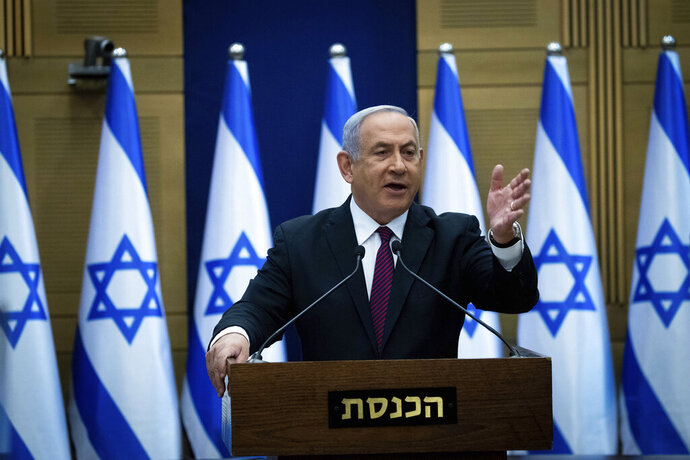 Israeli Prime Minister Benjamin Netanyahu delivers a statement to his Likud party in Jerusalem, Wednesday, Dec. 2, 2020. (Yonatan Sindel/Pool Photo via AP)