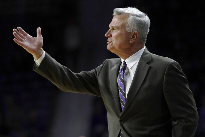 Kansas State head coach Bruce Weber directs his team during the first half of an NCAA college basketball game against TCU in Manhattan, Kan., Tuesday, Jan. 7, 2020. (AP Photo/Orlin Wagner)
