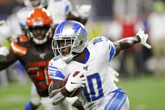 Detroit Lions' Brandon Powell (10) returns a kickoff during the first half of the team's NFL preseason football game against the Cleveland Browns, Thursday, Aug. 29, 2019, in Cleveland. (AP Photo/Ron Schwane)