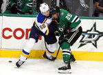St. Louis Blues defenseman Colton Parayko (55) and Dallas Stars right wing Brett Ritchie (25) work to gain control of the puck in the first period of an NHL hockey game in Dallas, Thursday, Feb. 21, 2019. (AP Photo/Tony Gutierrez)