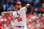 St. Louis Cardinals starting pitcher Michael Wacha throws during the first inning in the first game of a baseball doubleheader against the Kansas City Royals Wednesday, May 22, 2019, in St. Louis. (AP Photo/Jeff Roberson)