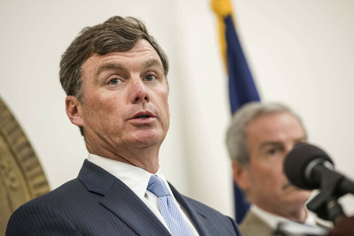 South Carolina Department of Corrections Director Bryan Stirling addresses the media during a press conference following a prison riot at the Lee Correctional Institution Monday, April 16, 2018, in Columbia, S.C. (AP Photo/Sean Rayford)