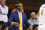 Oklahoma State head coach Mike Boynton Jr. shouts in the second half of an NCAA college basketball game against Iowa State in Stillwater, Okla., Saturday, Feb. 29, 2020. (AP Photo/Sue Ogrocki)