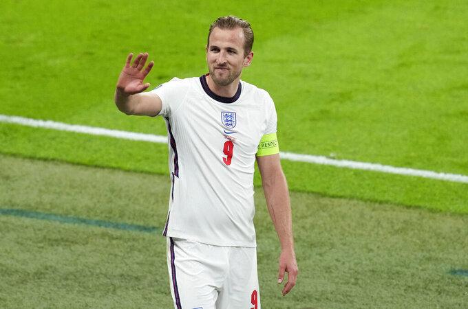 England's Harry Kane waves following the Euro 2020 soccer championship group D match between the Czech Republic and England at Wembley stadium, London, Tuesday, June 22, 2021. (AP Photo/Matt Dunham,Pool)