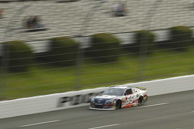 Hailie Deegan drives down the front stretch during the ARCA Series auto race at Pocono Raceway, Friday, May 31, 2019, in Long Pond, Pa. (AP Photo/Matt Slocum)