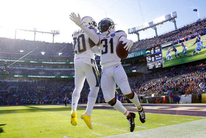 Los Angeles Chargers defensive back Adrian Phillips, right, celebrates with teammate Desmond King after recovering a fumble in the first half of an NFL wild card playoff football game against the Baltimore Ravens, Sunday, Jan. 6, 2019, in Baltimore. (AP Photo/Carolyn Kaster)