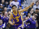 LSU guard Tremont Waters gestures after scoring against Michigan State during the second half of a semifinal in the NCAA men's college basketball tournament East Regional in Washington, Friday, March 29, 2019. (AP Photo/Patrick Semansky)