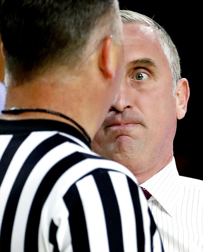 Arizona State head coach Bobby Hurley yells at an official during the first half of an NCAA college basketball game against Washington State, Thursday, Feb. 7, 2019, in Tempe, Ariz. (AP Photo/Matt York)