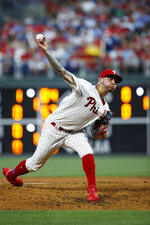 Philadelphia Phillies' Vince Velasquez pitches during the fourth inning of a baseball gameagainst the Los Angeles Dodgers, Tuesday, July 16, 2019, in Philadelphia. (AP Photo/Matt Slocum)