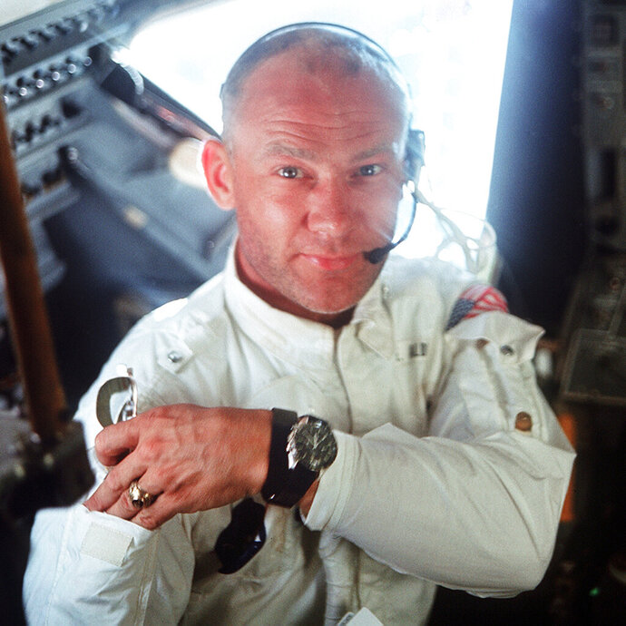 This July 20, 1969 photo made available by NASA shows pilot Edwin