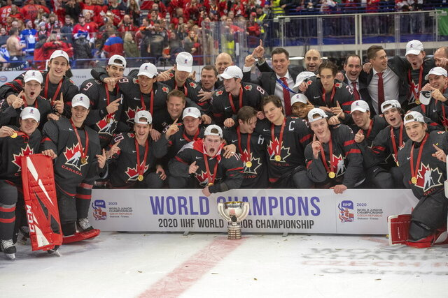 Team Canada celebrates after defeating Russia in the gold medal game at the World Junior Hockey Championships, Sunday, Jan. 5, 2020, in Ostrava, Czech Republic. (Ryan Remiorz/The Canadian Press via AP)