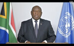 In this photo taken from video, South Africa's President Matamela Cyril Ramaphosa remotely addresses the 76th session of the United Nations General Assembly in a pre-recorded message, Thursday, Sept. 23, 2021, at UN headquarters. (UN Web TV via AP)