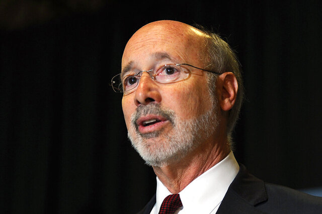 FILE- In this May 24, 2017, file photo, Pennsylvania Gov. Tom Wolf appears at an event in Erie, Pa. On Wednesday, Dec. 9, 2020 Gov. Wolf said Wednesday, Dec. 9, 2020, that he has tested positive for COVID-19 and is isolating at home. The second-term Democrat said a routine test on Tuesday detected the coronavirus.Christopher Millette/Erie Times-News via AP, File)