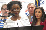 In this Aug. 29, 2019 photo, State Sen. Erika Geiss, D-Taylor, speaks at a news conference at the Michigan AFL-CIO headquarters in Lansing, Mich. Geiss on Tuesday, Nov. 12, 2019, criticized a Republican legislative leader, Senate Majority Leader Mike Shirkey, for comparing abortion to slavery. (AP Photo/David Eggert)
