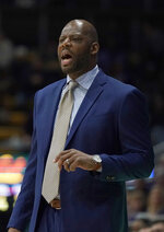 California head coach Wyking Jones yells out to his team during the first half against Washington in an NCAA college basketball game Thursday, Feb. 28, 2019, in Berkeley, Calif. (AP Photo/Tony Avelar)