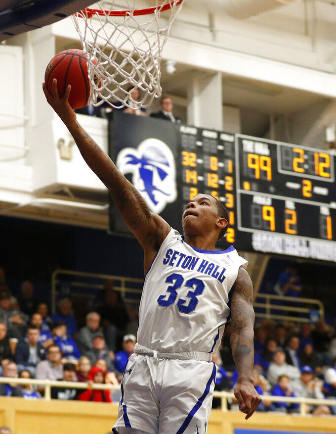 Seton Hall guard Shavar Reynolds (33) goes to the basket against the Wagner during the second half of an NCAA college basketball game Tuesday, Nov. 5, 2019, in South Orange, N.J. (AP Photo/Noah K. Murray)