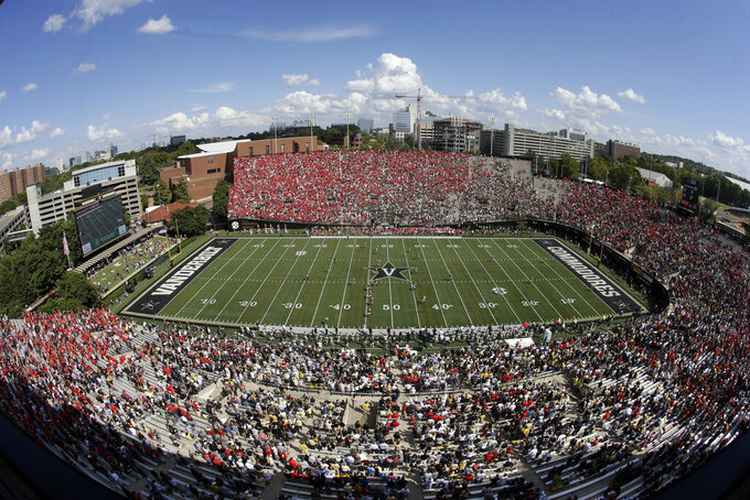 FILE — In this Sept. 12, 2015, file photo, Vanderbilt plays Georgia at Vanderbilt Stadium in an NCAA college football game in Nashville, Tenn. Vanderbilt announced a $300 million project Monday, March 29, 2021, to improve football and basketball facilities and a new Vandy United Fund to raise money for athletics programs. (AP Photo/Mark Humphrey, File)