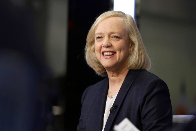 FILE - In this Nov. 2, 2015, file photo, Meg Whitman is interviewed on the floor of the New York Stock Exchange. General Motors expanded its board of directors to 13, appointing former Hewlett-Packard chief  Whitman and NBA executive Mark Tatum effective Thursday, March 25, 2021. Seven of GM's directors are now women, including board chair and Chief Executive Officer Mary Barra, who in 2014 became the first woman to lead a major U.S. automaker.  (AP Photo/Richard Drew, File)