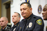Houston Police Chief Art Acevedo speaks during a press conference at HPD headquarters on Wednesday, Nov. 20, 2019, in Houston. Former HPD officers Gerald Goines and Steven Bryant were taken into custody Wednesday and charged with a variety of federal crimes. The two former Houston police officers are facing federal charges related to providing false information in a January drug raid that left two people dead and several officers injured, authorities announced on Wednesday.   (Jon Shapley/Houston Chronicle via AP)