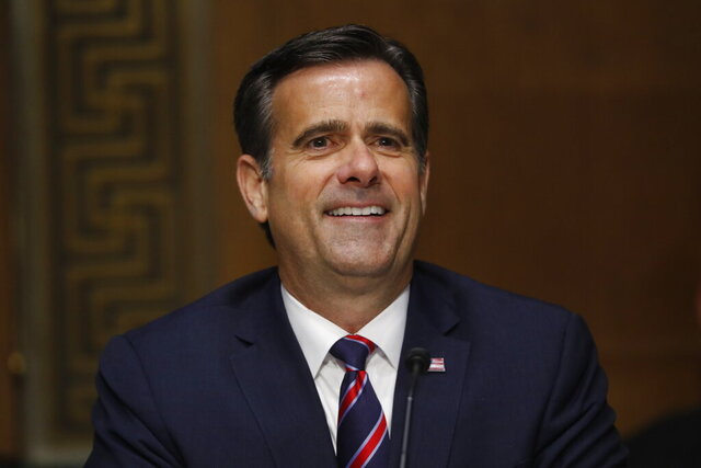 In this May 5, 2020, photo, Rep. John Ratcliffe, R-Texas, testifies before the Senate Intelligence Committee during his nomination hearing on Capitol Hill in Washington. President Donald Trump's pick to be the nation's top intelligence official, Ratcliffe, is adamant that if confirmed he will not allow politics to color information he takes to the president.  (AP Photo/Andrew Harnik, Pool)