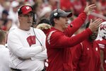 Wisconsin head coach Paul Chryst watches during the first half of an NCAA college football game against Penn State Saturday, Sept. 4, 2021, in Madison, Wis. (AP Photo/Morry Gash)