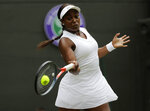 FILE - In this July 6, 2019, file photo, Sloane Stephens returns to Britain's Johanna Konta in a women's singles match at the Wimbledon Tennis Championships in London. Any World TeamTennis player or coach who tests positive for COVID-19 when arriving for the three-week 2020 season will be dropped from the league without pay. The health plan released Tuesday, June 16, 2020, by the WTT for its matches starting July 12 at The Greenbrier in West Virginia also calls for two daily temperature checks for spectators, no ball kids, a chair umpire aided by electronic line-calling instead of line judges, and no high-fives or handshakes between opponents. The rosters announced for the WTT's nine teams include Grand Slam title winners Kim Clijsters, Sloane Stephens, Sofia Kenin and the Bryan brothers. (AP Photo/Ben Curtis, File)