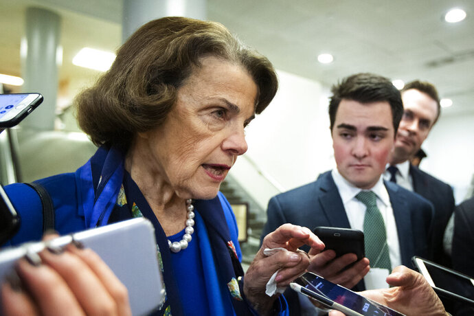 Sen. Dianne Feinstein, D-Calif., speaks to reporters at the Capitol in Washington, Tuesday, Jan.28, 2020. (AP Photo/Manuel Balce Ceneta)
