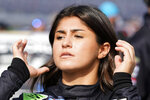 FILE - Hailie Deegan waits on pit road during NASCAR truck qualifying at Daytona International Speedway in Daytona Beach, Fla., in this Friday, Feb. 12, 2021, file photo. Tony Stewart was like everyone else in the motorsports industry this week, frequently checking social media to see Paul Tracy's latest theatrics in a one-sided war against NASCAR golden girl Hailie Deegan. (AP Photo/John Raoux, File)
